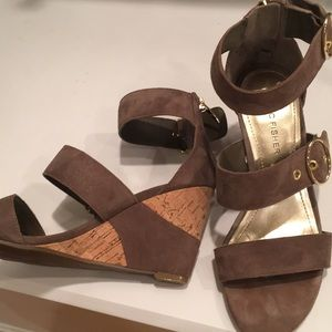 Marc Fisher Genuine Suede Taupe Sandals